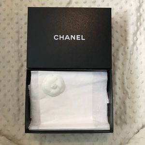 Chanel box with flower and tissue paper